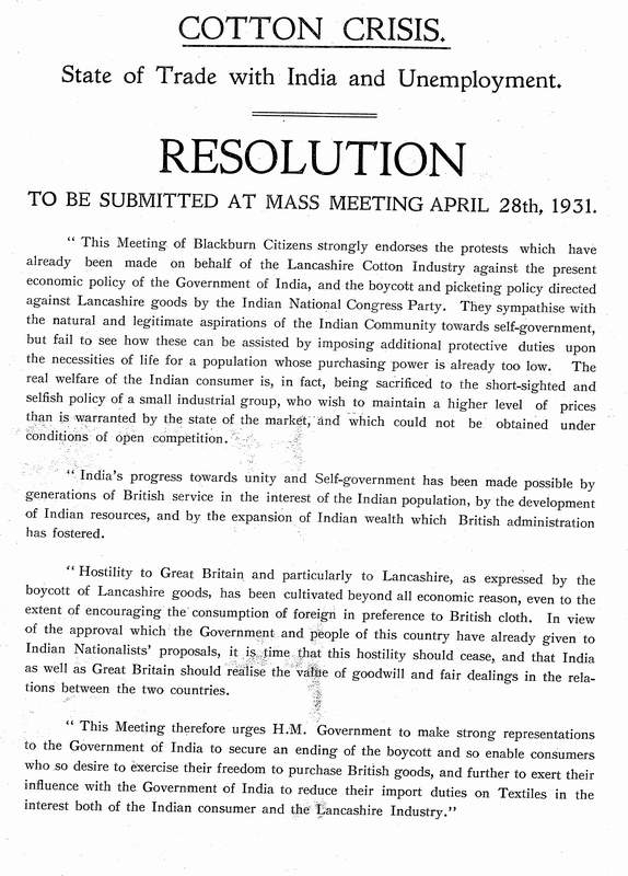 1931 resolution about the lancashire cotton crisis