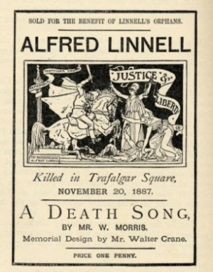 Walter Crane illustrated leaflet promoting a poem by William Morris commemorating the death of Alfred Linnell at a Trafalgar Square demonstration in 1887