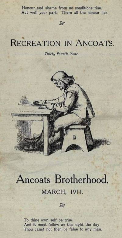 Illustration from the cover of an Ancoats Brotherhood programme for 1914