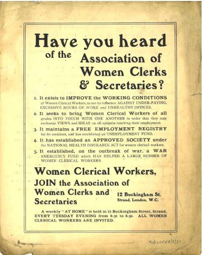 Recruitment leaflet for the Association of Women Clerks and Secretaries