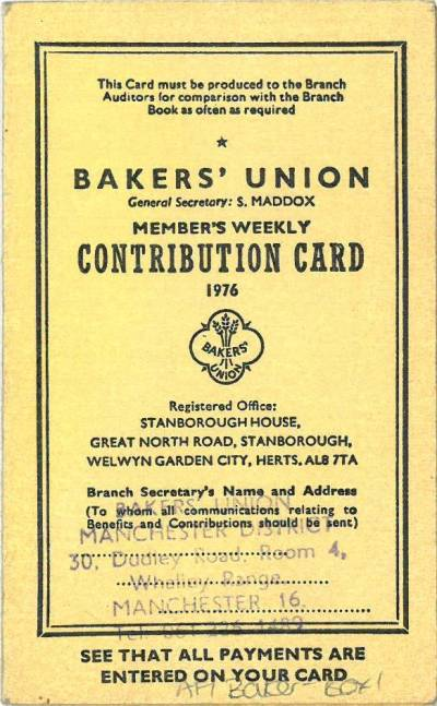 Bakers Union Contribution card for 1976