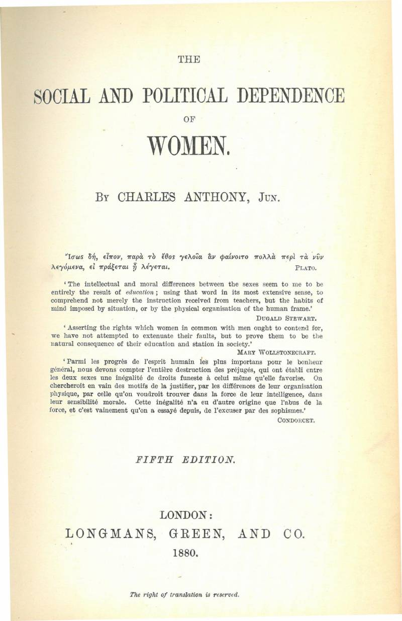 wcml an argument in favour of women s suffrage an 1867 argument in favour of women s suffrage