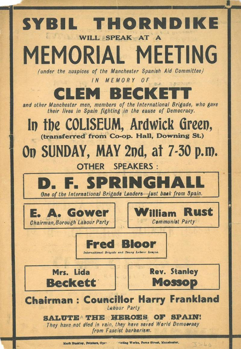Clem Beckett memorial meeting flyer