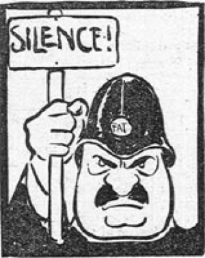 Free speech cartoon as featured in Votes for Women, 1913