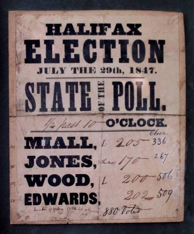 Notice of the state of the poll in the Halifax election of 1847