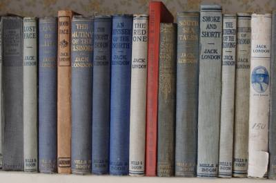 Shelf of books by Jack London