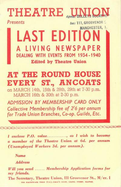 Flyer for a Theatre Union production of Last Edition: a living newspaper dealing with events from 1934-1940