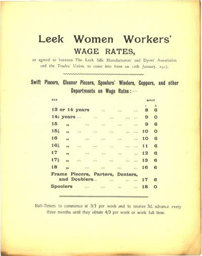 Leek women's wage rates 1917