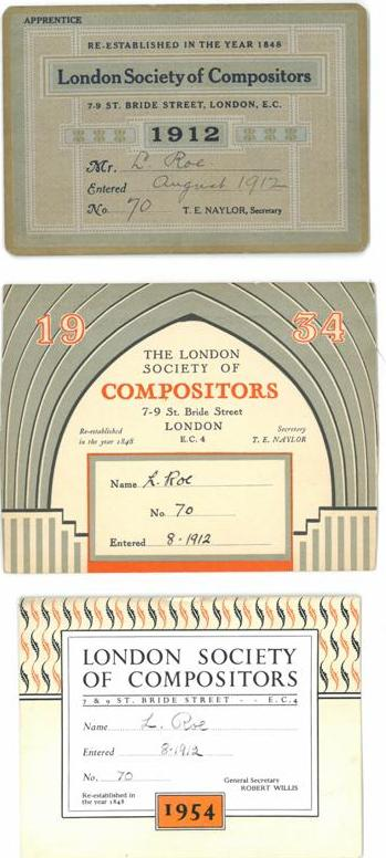 London Society of Compositor membership cards for Leonard Roe