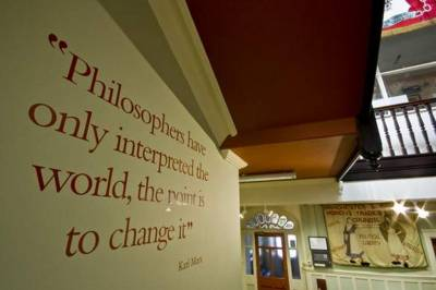 Quotation from Karl Marx in the Library's hall