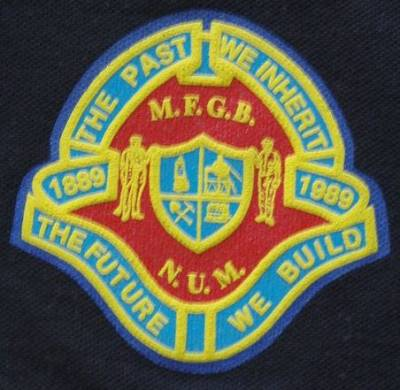 Badge celebrating the centenary of the National Union of Mineworkers
