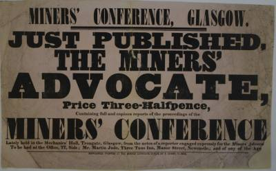 Poster advertising The Miners Advocate and a Glasgow miners conference