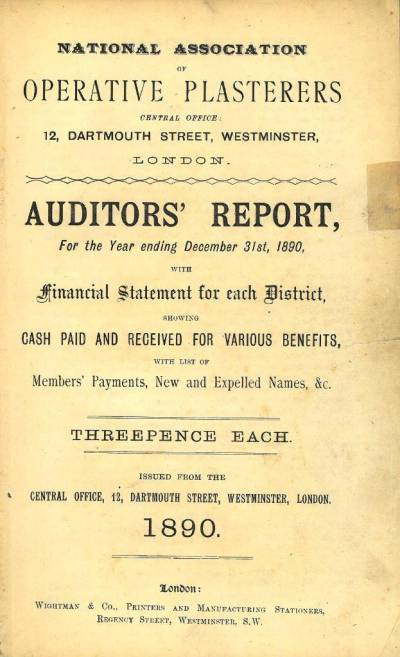 National Association of Operative Plasterers auditors' report, 1890
