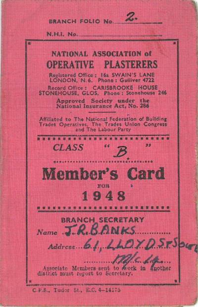 National Association of Operative Plasterers membership card