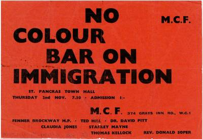 Flyer for a meeting No colour bar on immigration