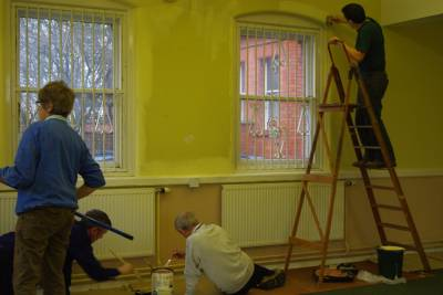 Volunteers painting the library annexe