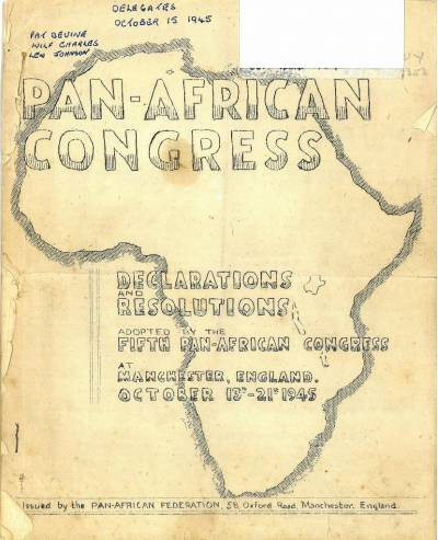 Cover of the 1945 Pan African Congress - declarations and resolutions