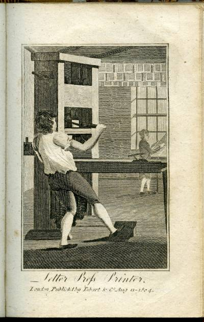 Engraving of a Printer from the Book of Trades