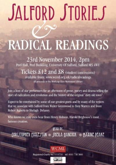 Flyer for Salford Stories and Radical Reading