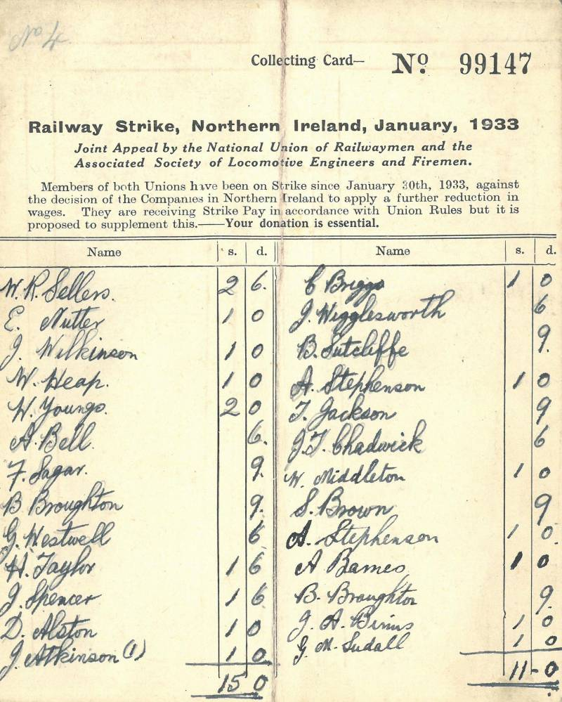 Railway strike appeal card 1933