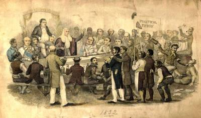 Cartoon of an 1832 reform meeting
