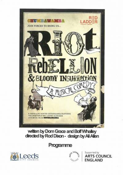 Cover of the programme of the joint Chumbawamba, Red Ladder production of Riot, rebellion and bloody insurrection