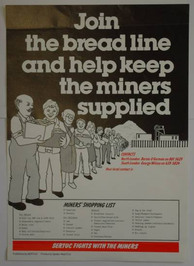 South East Regional Trades Union Congress poster in support of striking miners 1984/1985