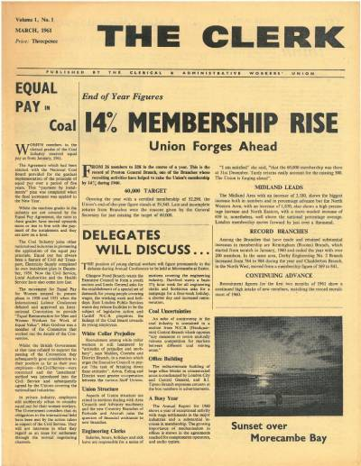 Front cover of The Clerk, Vol 1 No 1, Mar 1961