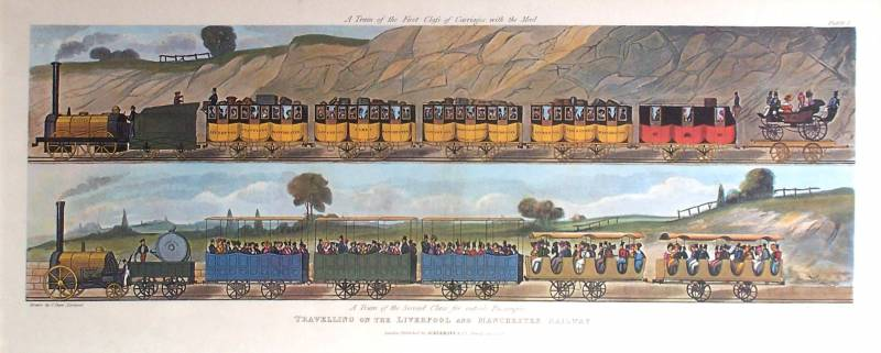 Painting entitled Travelling on the Liverpool and Manchester Railway