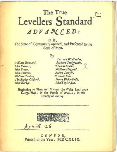 Cover of a reprint of The true levellers standard advanced