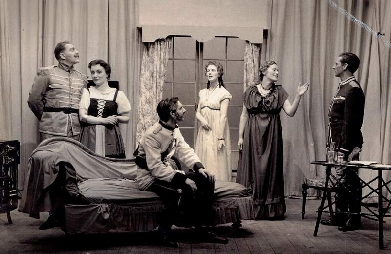 Manchester Unity Theatre production of GB Shaw's Arms and the Man - Joan Marshall second from left