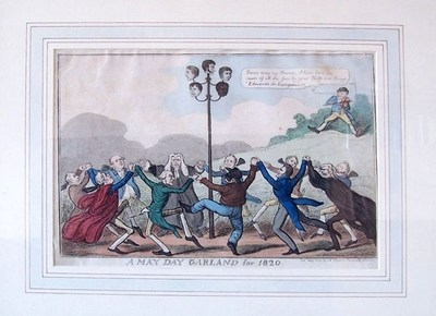 William Davidson (Framed/055) : May Day Garland for 1820 cartoon showing head of William Davidson