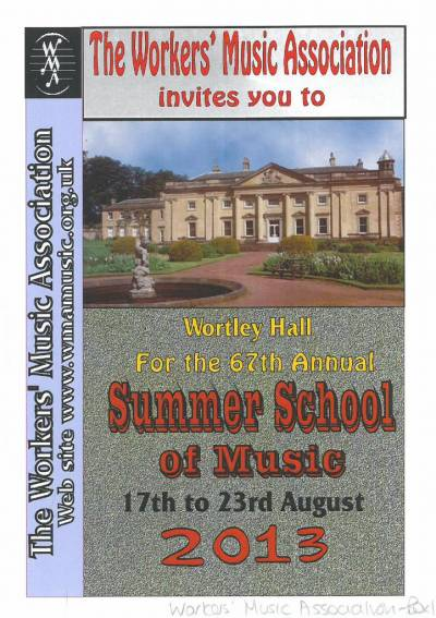 Cover of the programme for the Workers Music Association 2013 summer school